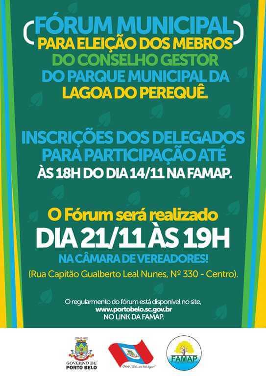 PORTO BELO - Eleições para Conselho Gestor do Parque Municipal da Lagoa do Perequê