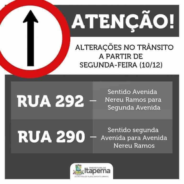 Ruas 292 e 290 terão novo sentido de trânsito