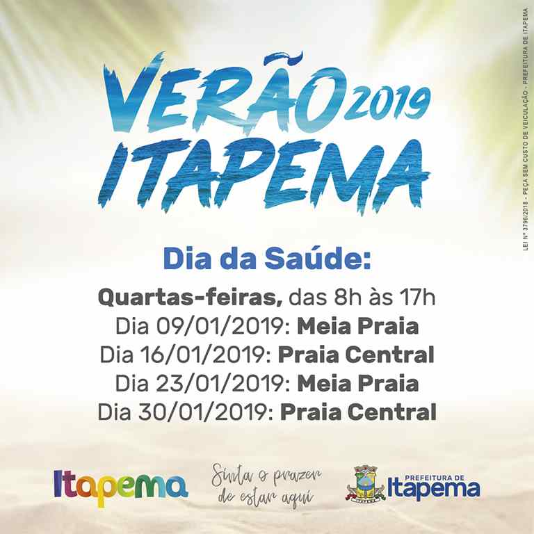 Projeto Verão Itapema 2019 também terá atividades de Saúde
