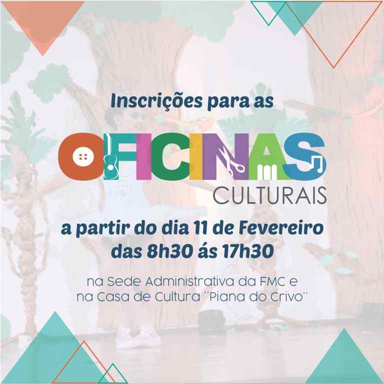 BOMBINHAS – Inscrições para as Oficinas Culturais começam no dia 11 de Fevereiro