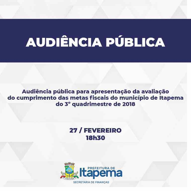 Finanças realizará audiência pública