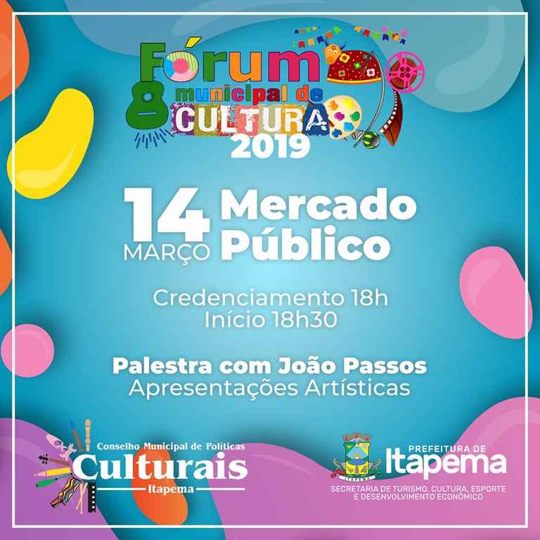 Fórum Municipal de Cultura 2019 de Itapema acontece em março
