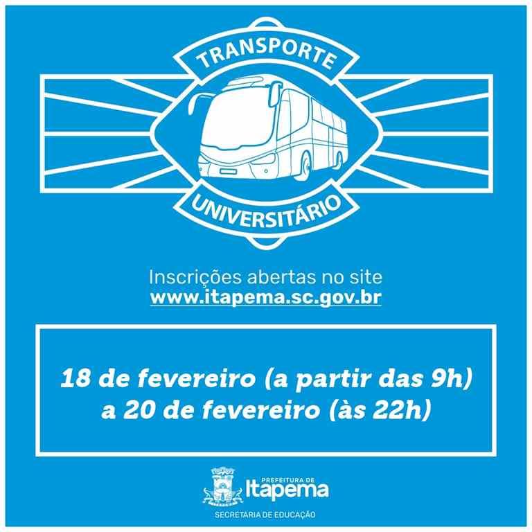 Inscrição do cadastro para o Transporte Universitário começa na segunda-feira (18/02)