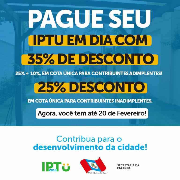 PORTO BELO – Contribuinte tem desconto de até 35% no IPTU em Porto Belo