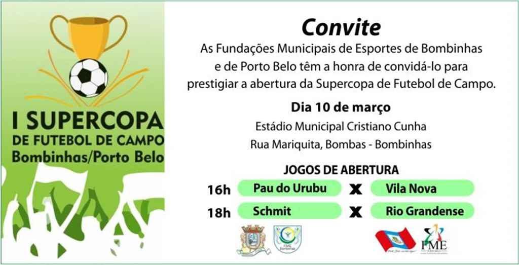 BOMBINHAS – Bombinhas e Porto Belo participam de Supercopa