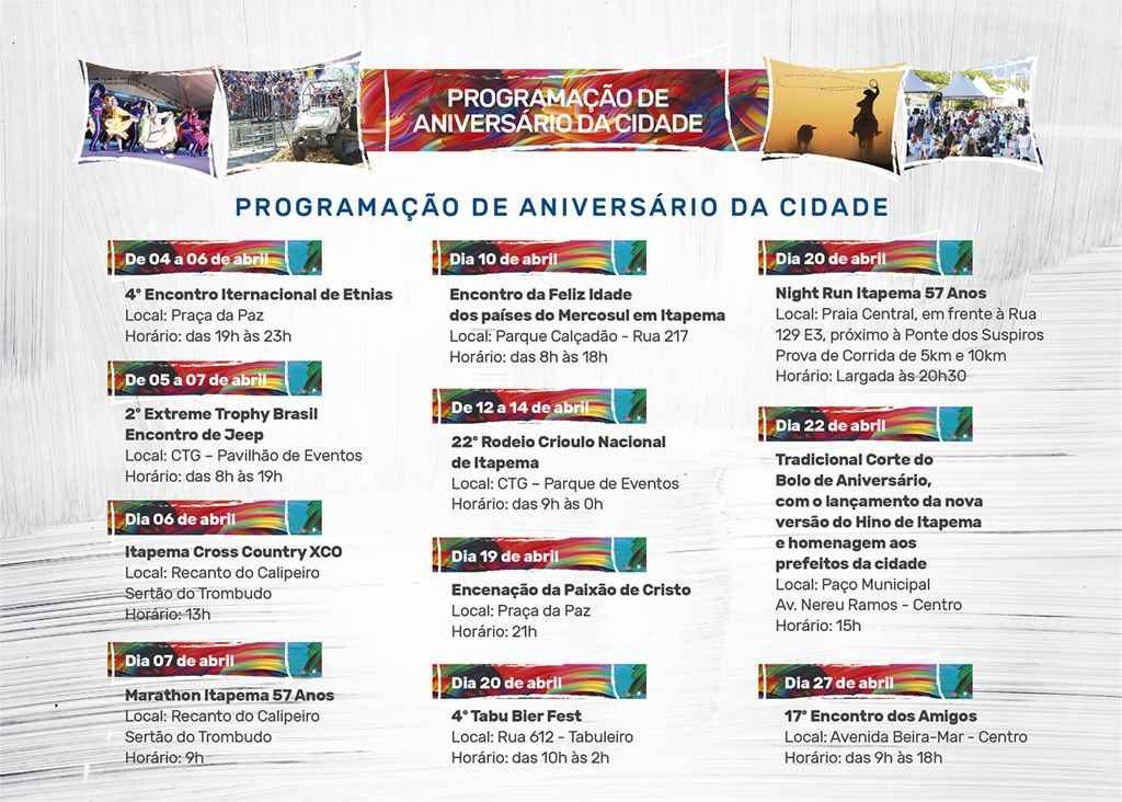 Itapema vai comemorar 57 anos com programação especial