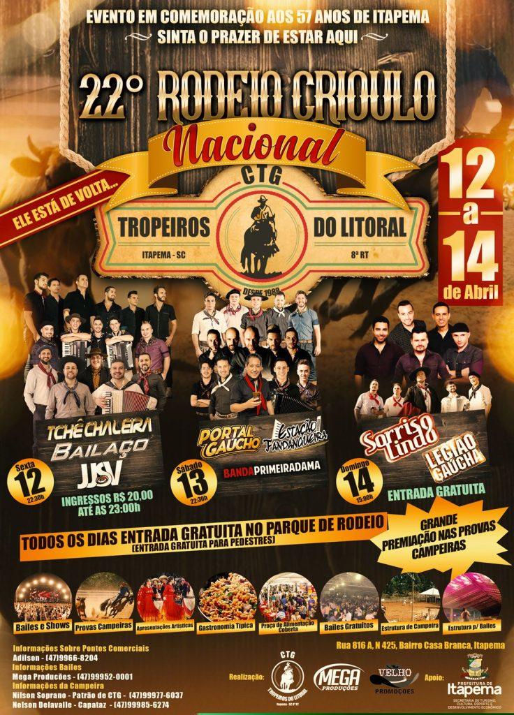 Final de semana será com 22º Rodeio Crioulo Nacional de Itapema