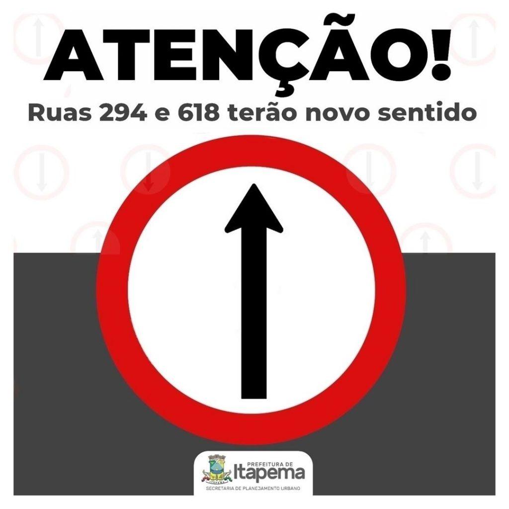 Ruas 294 e 618 terão novo sentido de trânsito