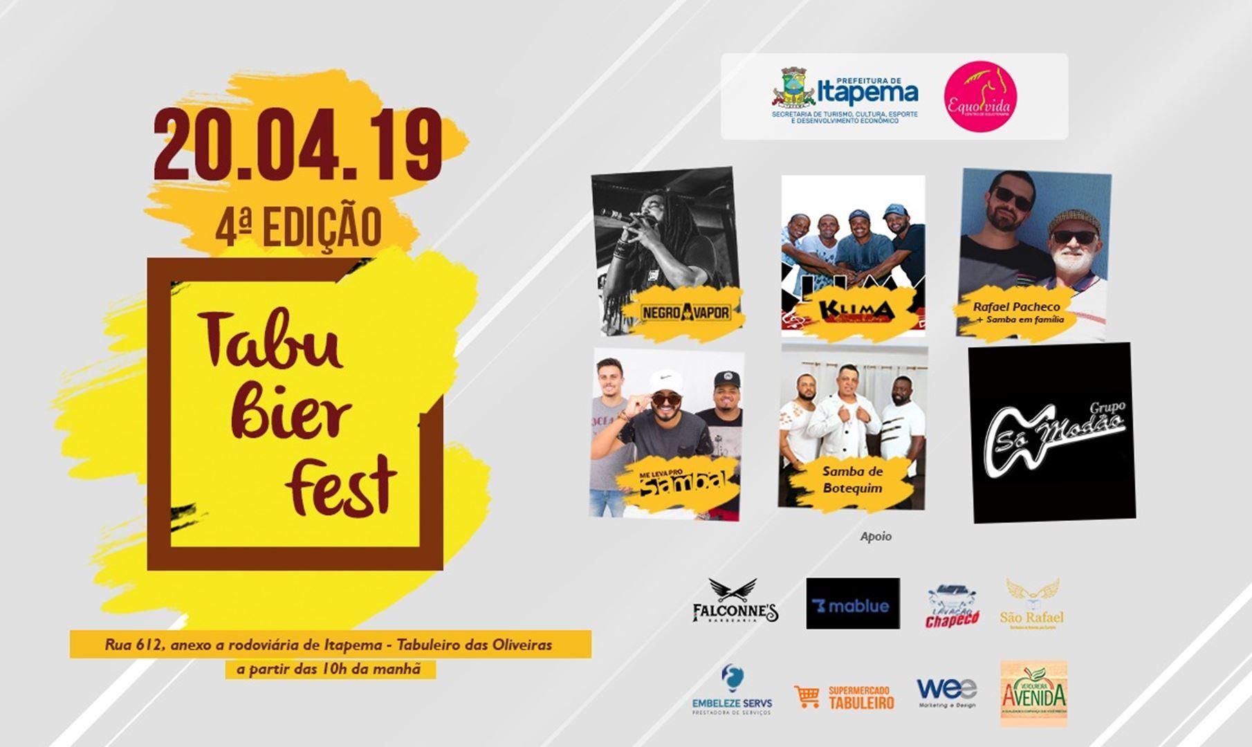 Sábado (20/04) acontecerá a 4ª Tabu Bier Fest
