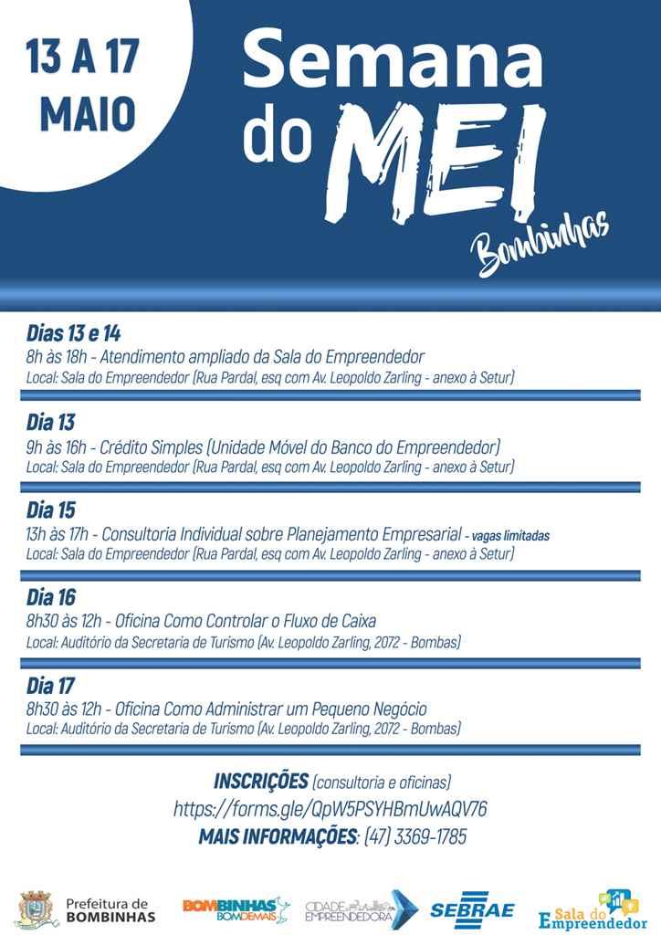 BOMBINHAS - Oficinas e Ações especiais programadas para Semana do MEI