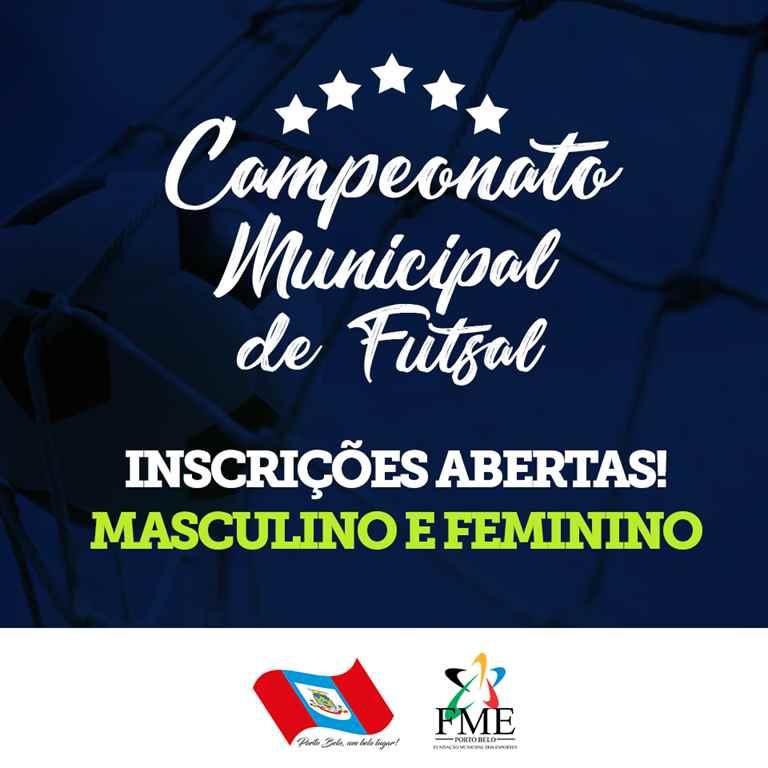 PORTO BELO - Inscrições abertas para o Campeonato Municipal de Futsal em Porto Belo