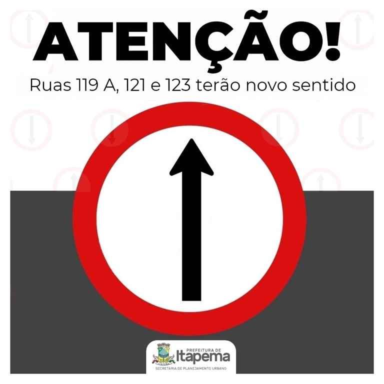 Ruas 119 A, 121 e 123 terão novo sentido de trânsito