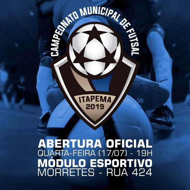 Abertura Oficial do Campeonato Municipal de Futsal 2019 será nesta quarta-feira (17/07)