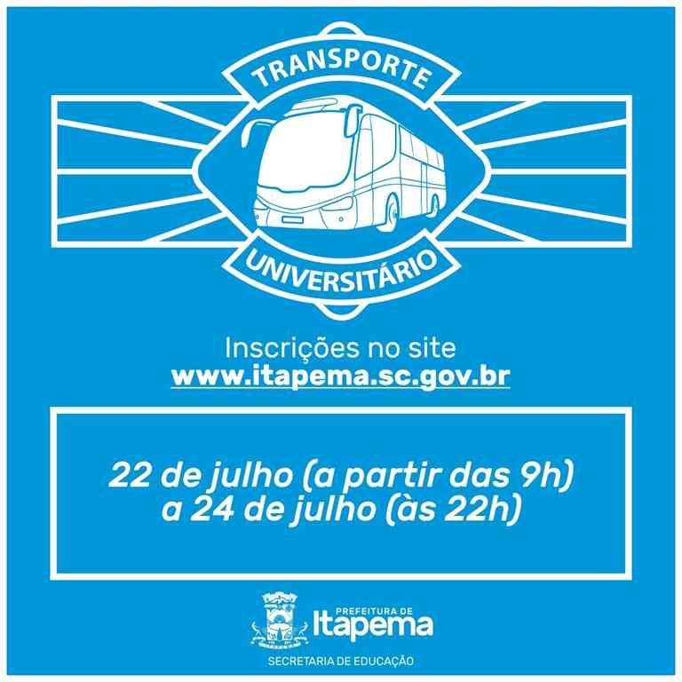 Inscrição do cadastro para o Transporte Universitário inicia na próxima segunda-feira (22/07)