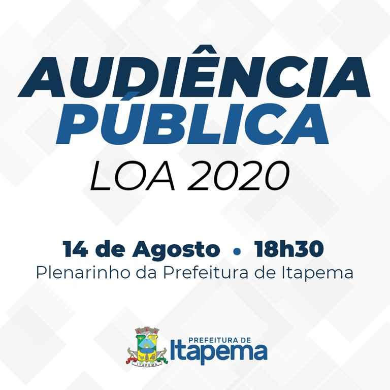 Finanças realizará audiência publica da LOA 2020