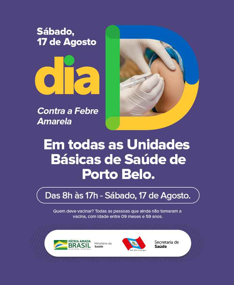 PORTO BELO - Sábado tem vacinação contra a Febre Amarela em Porto Belo