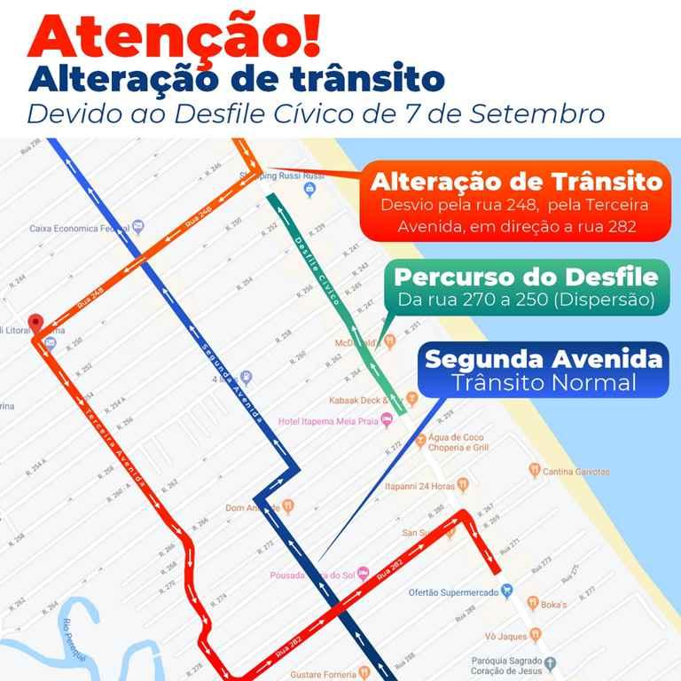 Detrami vai alterar trânsito para o Desfile de Sete de Setembro no Bairro Meia Praia