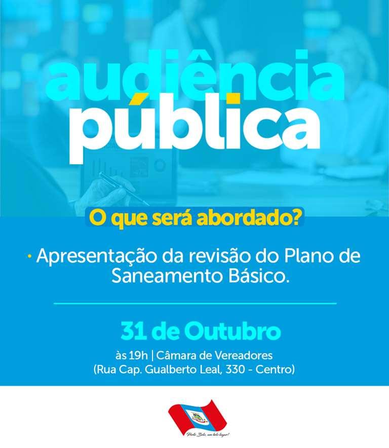 PORTO BELO - Audiência Pública apresentará revisão do Plano de Saneamento Básico de Porto Belo