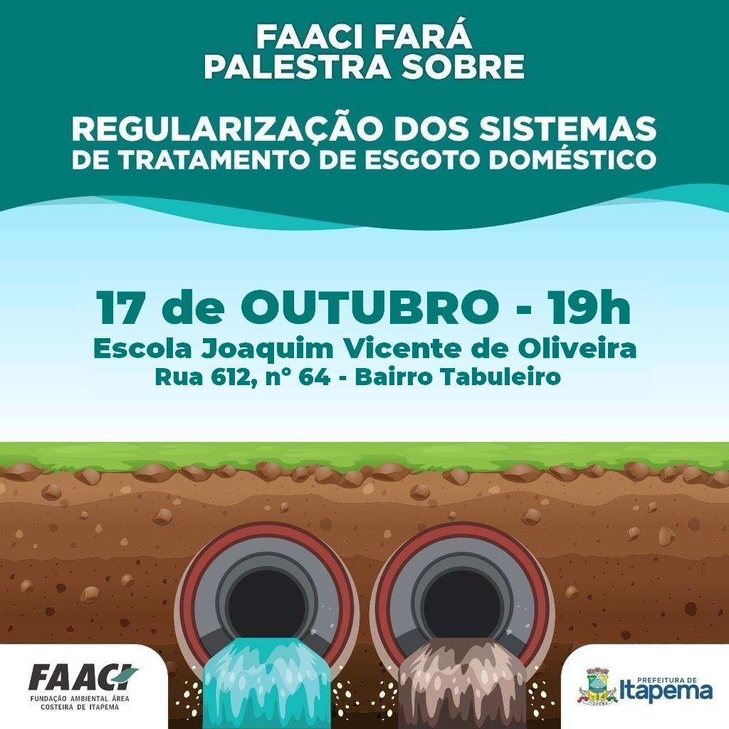 FAACI vai realizar palestra no Bairro Tabuleiro no dia 17 de Outubro