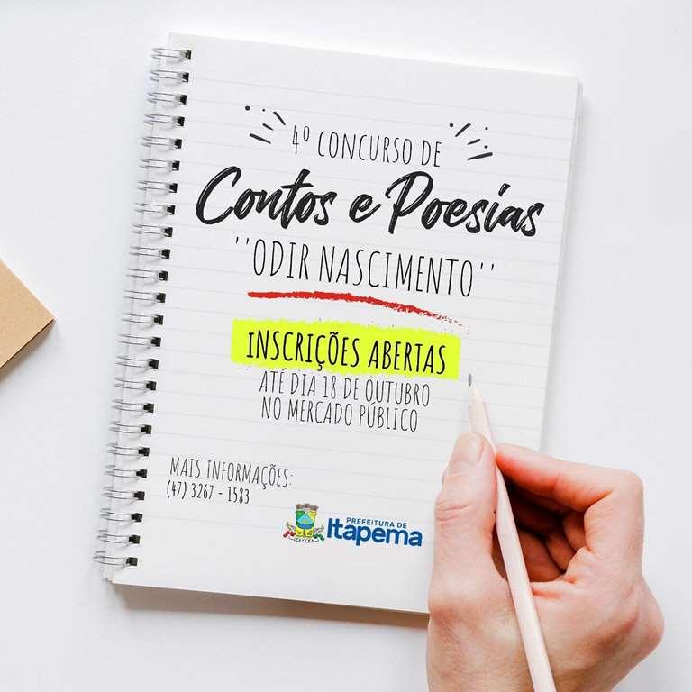 """Inscrições para 4º Concurso de Contos e Poesias """"Odir Nascimento"""" seguem abertas em Itapema"""