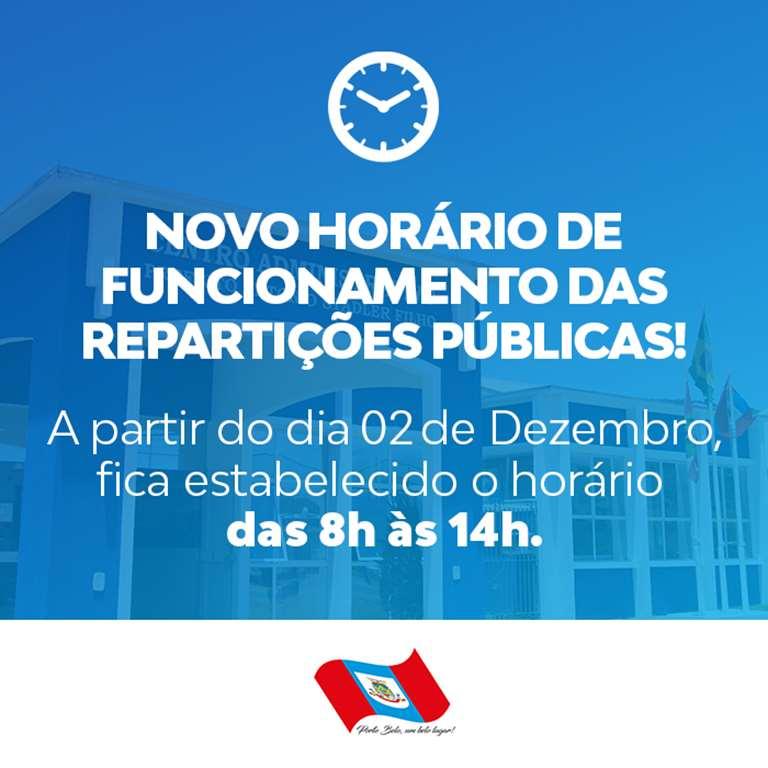 PORTO BELO - Porto Belo estabelece novo horário para a temporada de verão nos setores públicos