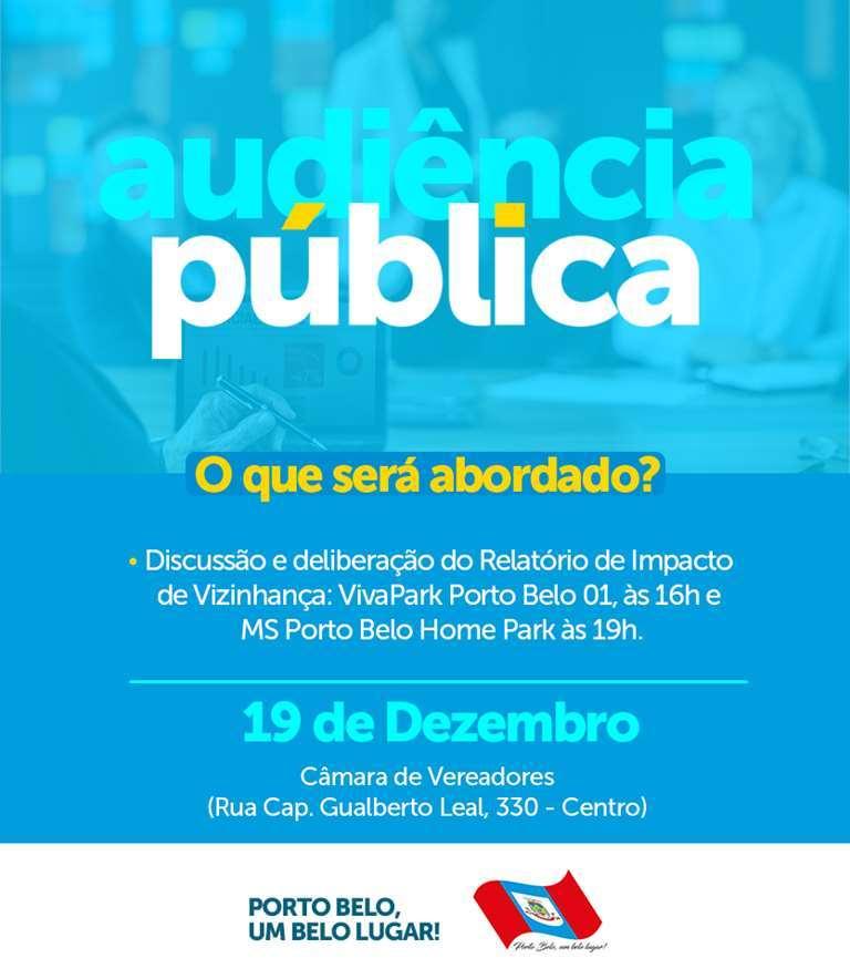 PORTO BELO - Audiências Públicas apresentam novos empreendimentos em Porto Belo
