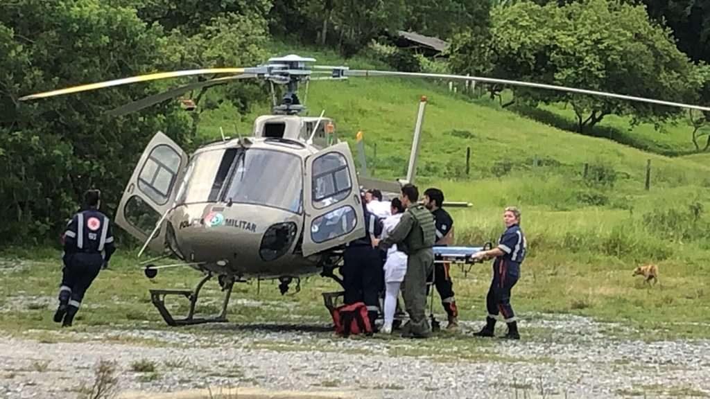 Ação garante transferência de paciente com helicóptero da PM em Itapema