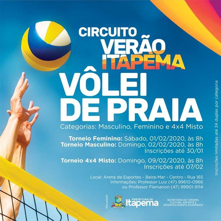Circuito de Vôlei de Praia de Itapema está com inscrições abertas
