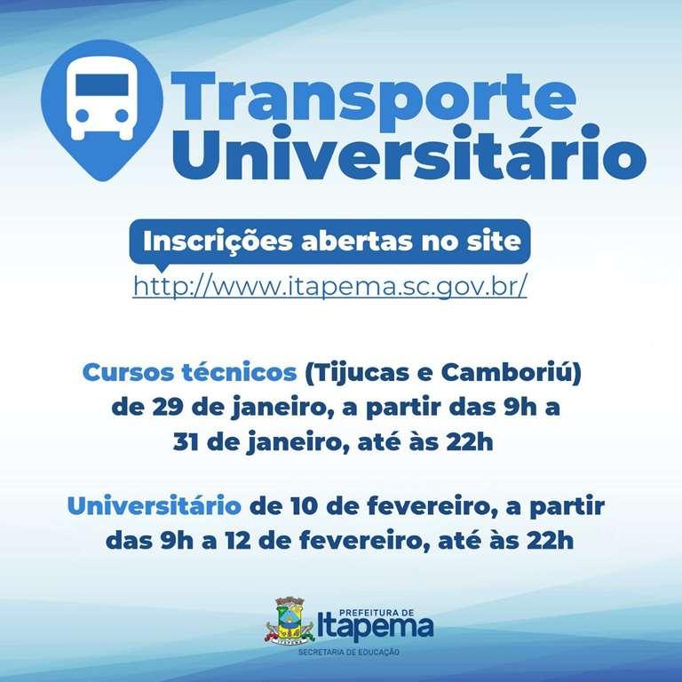 Educação divulga data para inscrição do cadastro para o Transporte Técnico e Universitário