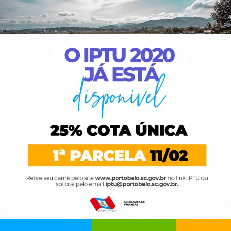 PORTO BELO - Porto Belo disponibiliza Iptu 2020 via internet