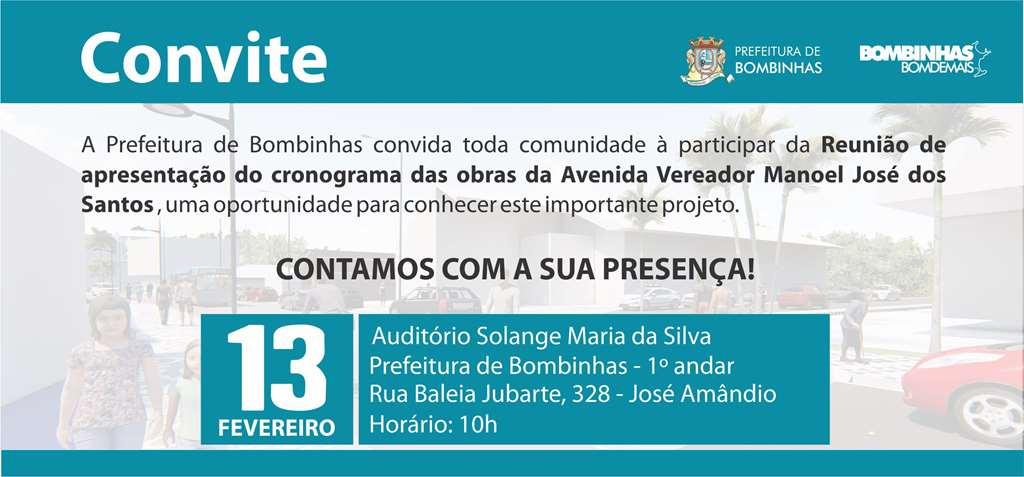 BOMBINHAS - Cronograma da obra do centro será apresentado para comunidade