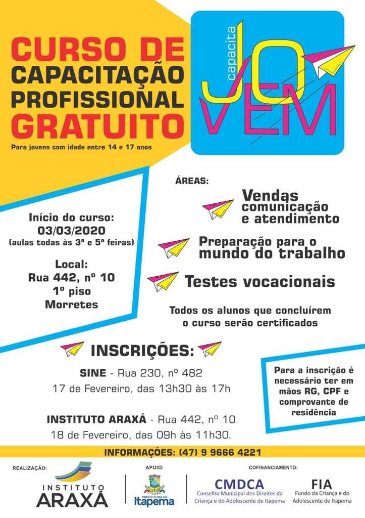 Inscrição para curso de capacitação profissional de jovens acontece na próxima semana