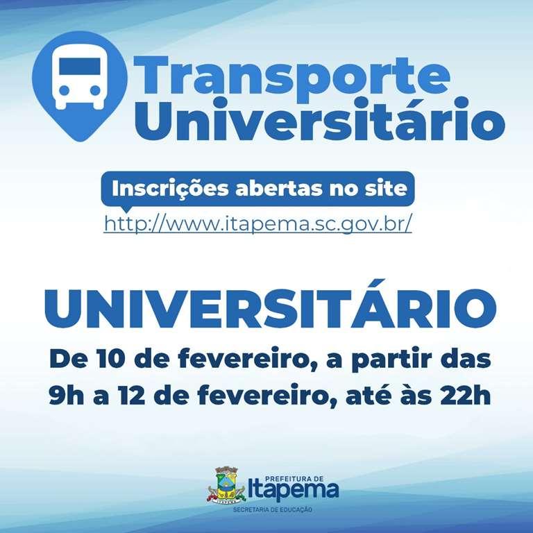 Inscrições para o cadastro ao Transporte Universitário abre na próxima semana
