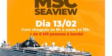 PORTO BELO - Porto Belo recebe o MSC Seaview nesta quinta-feira