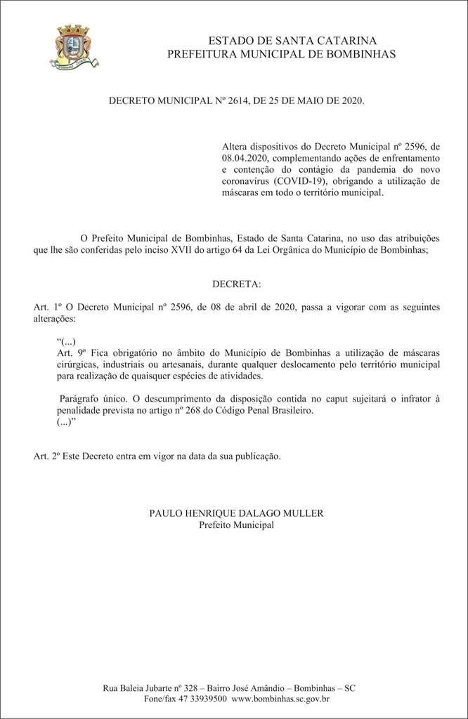 BOMBINHAS - Decreto Municipal obriga uso de máscaras em Bombinhas