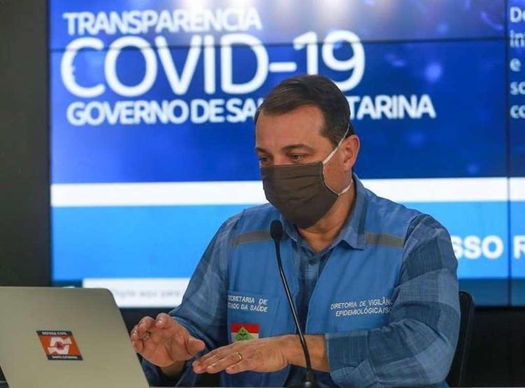 Governador Moisés atualiza os dados do coronavírus em Santa Catarina(Foto: Júlio Cavalheiro/ Secom)