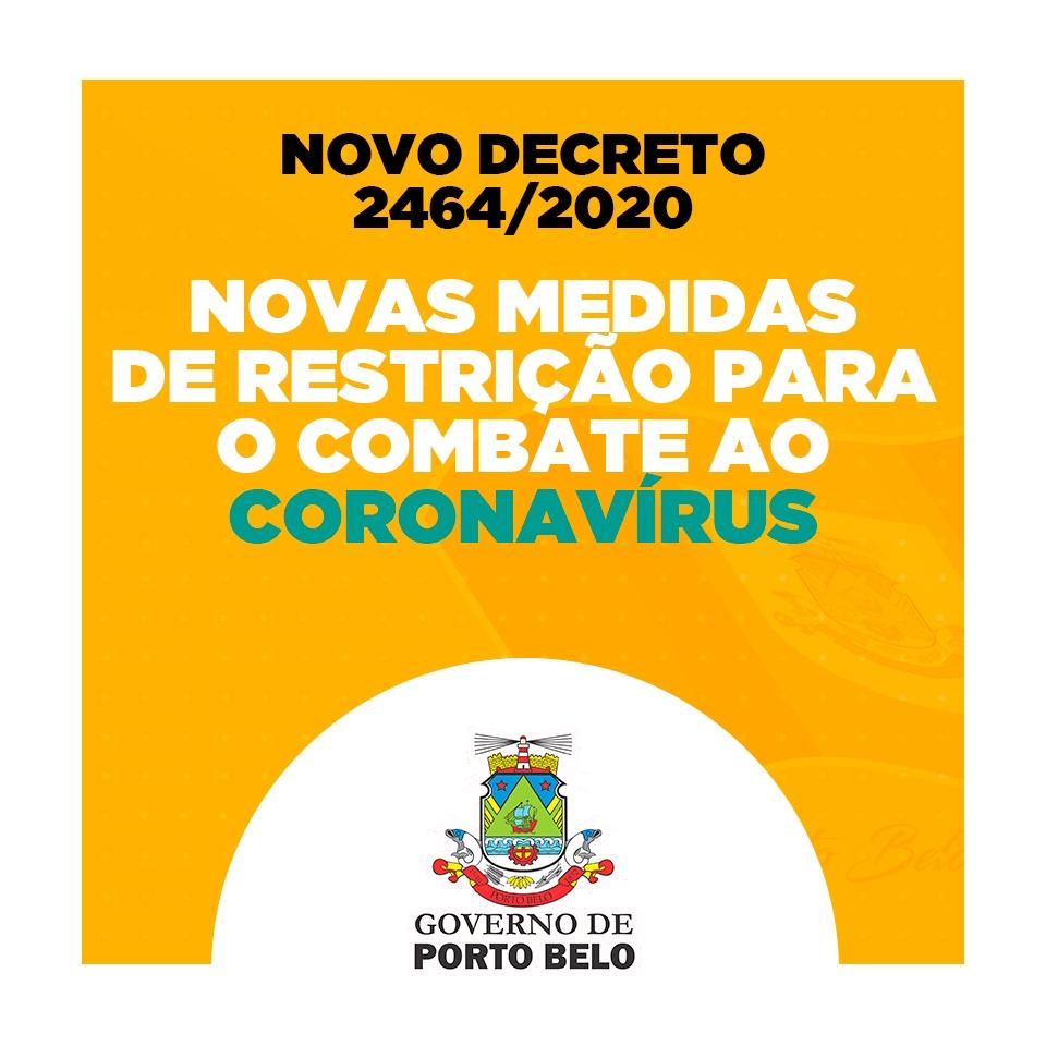 PORTO BELO - Porto Belo cria decreto com novas restrições contra o COVID-19