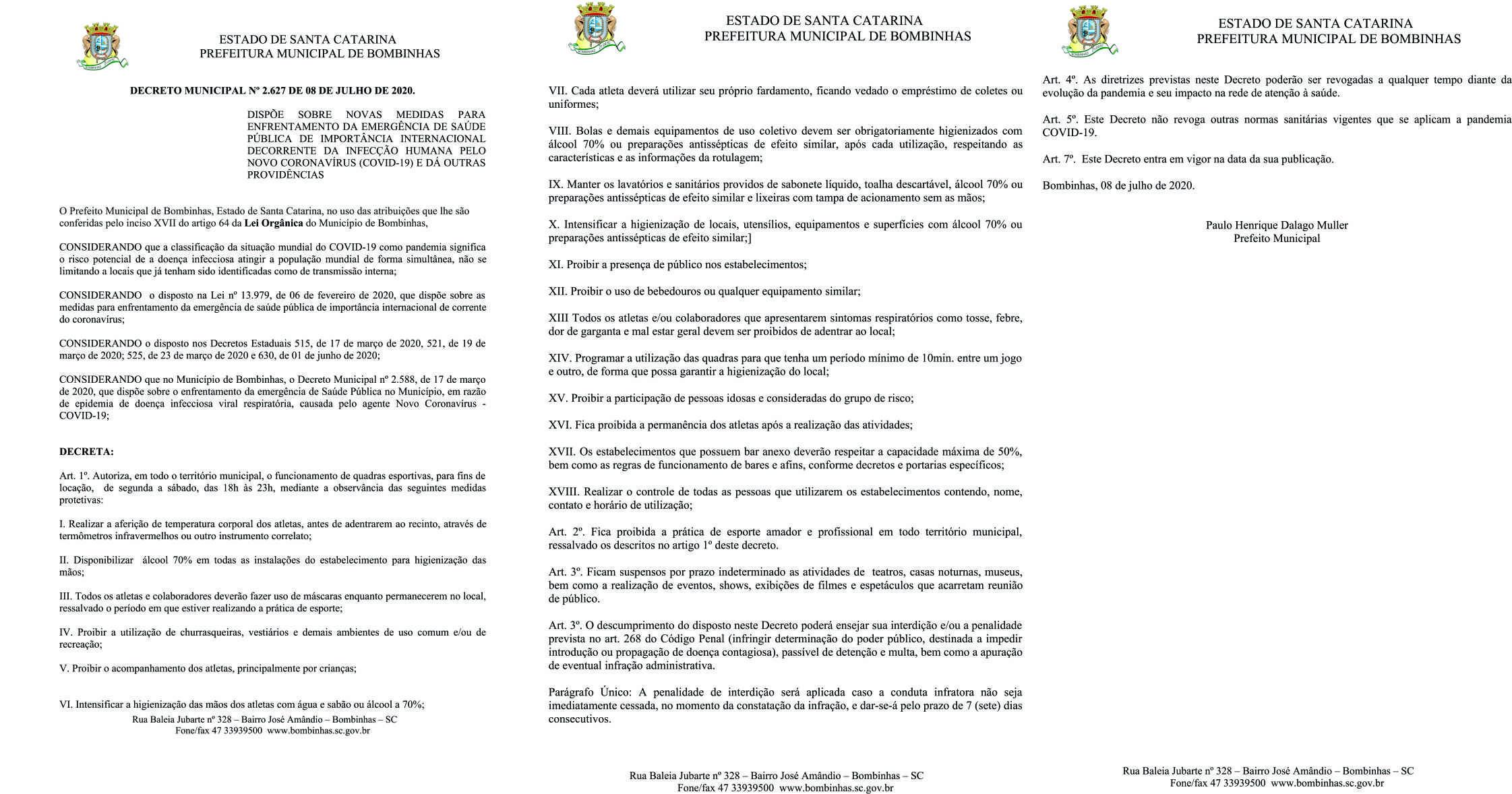 BOMBINHAS - Bombinhas tem novo decreto sobre enfrentamento da COVID