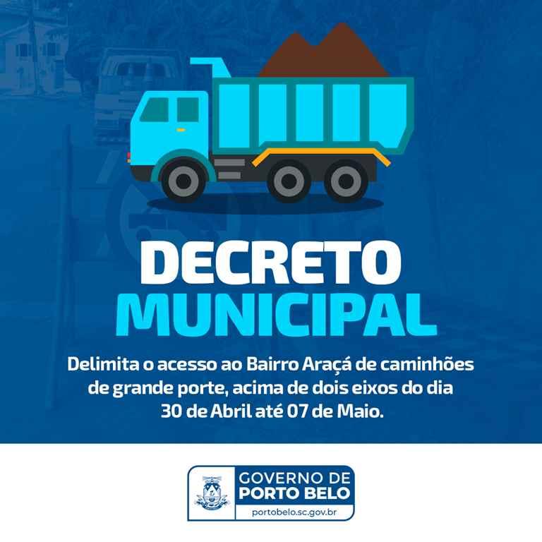 PORTO BELO – Caminhões não devem usar a Avenida Governador Celso Ramos para entrar em Porto Belo
