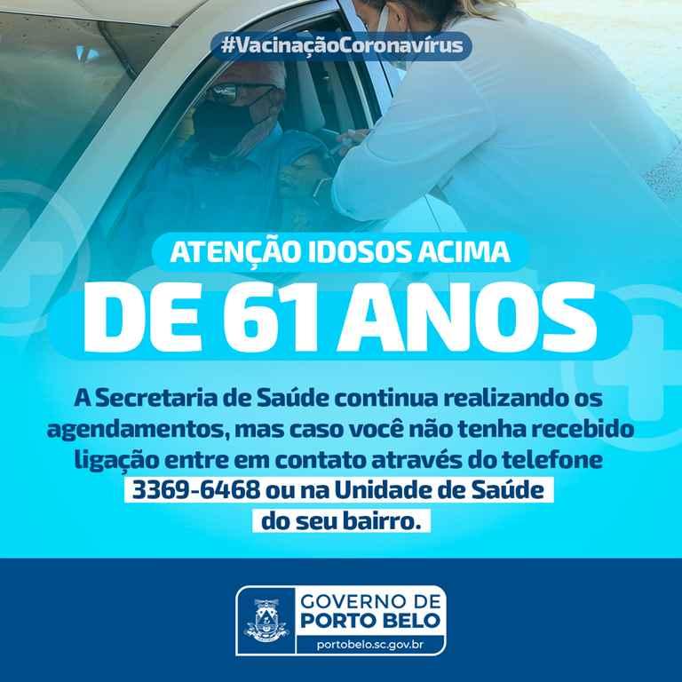 PORTO BELO – Porto Belo iniciará imunização contra o coronavírus em idosos com mais de 61 anos