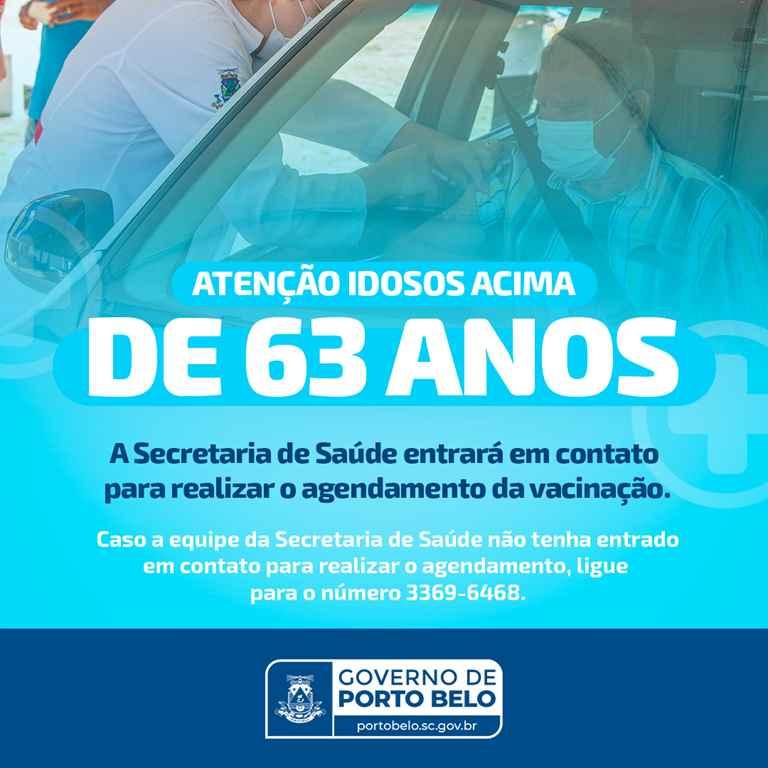 PORTO BELO - Idosos com 63 anos serão vacinados contra a COVID-19 em Porto Belo