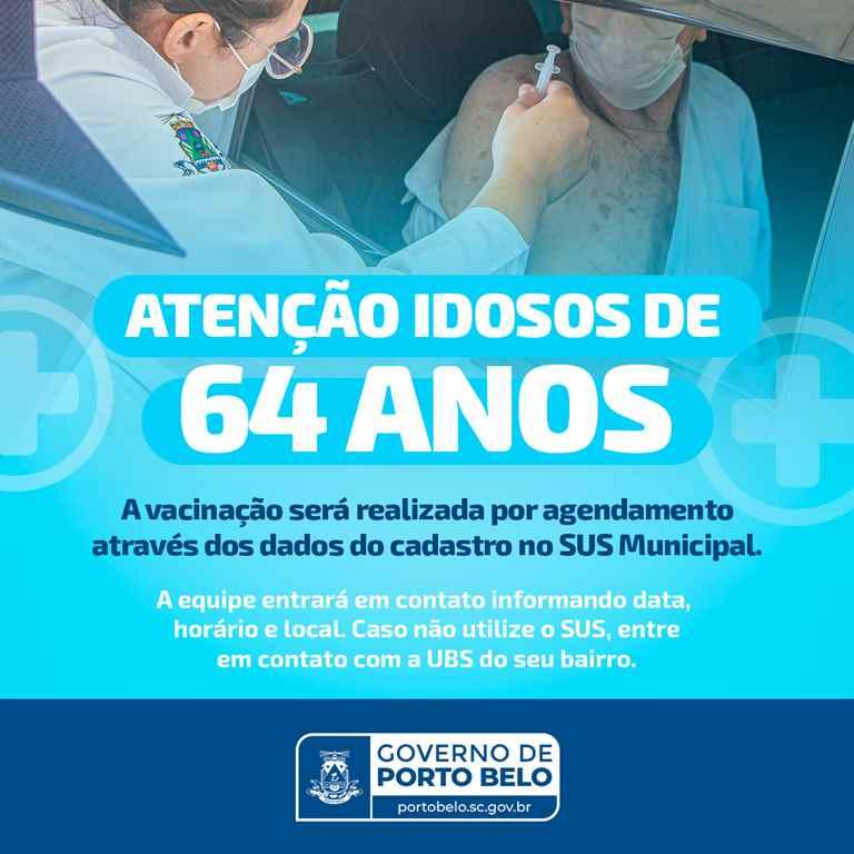 PORTO BELO - Porto Belo inicia vacinação contra o coronavírus em idosos de 64 anos