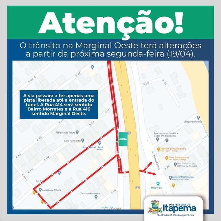 Alterações de trânsito na Marginal Oeste foram adiadas para próxima segunda-feira (19/04)