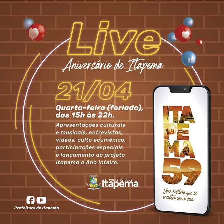 Prefeitura de Itapema - Post Live 59 Anos - Chamada Completa