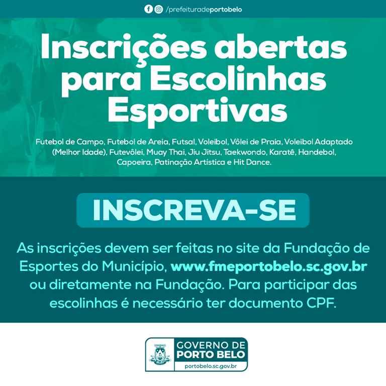 PORTO BELO - Abertas as inscrições para escolinhas esportivas em Porto Belo