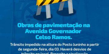 PORTO BELO - Porto Belo terá desvios no trânsito a partir desta segunda-feira