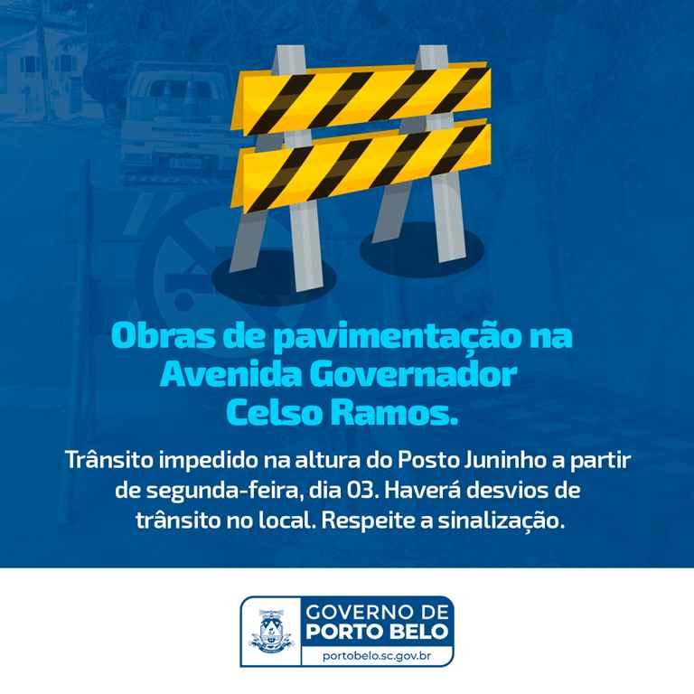 PORTO BELO – Porto Belo terá desvios no trânsito a partir desta segunda-feira