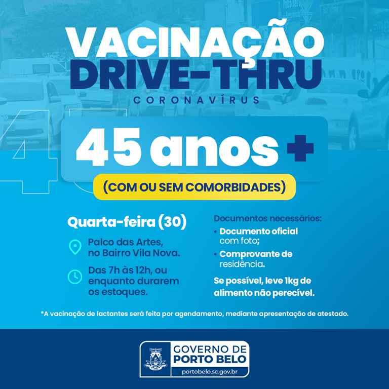 PORTO BELO - Porto Belo vacina moradores com 45 anos ou mais