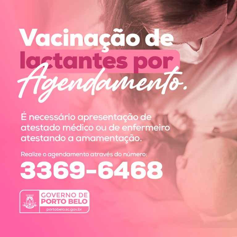 PORTO BELO - Lactantes de Porto Belo devem agendar vacinação contra o coronavírus