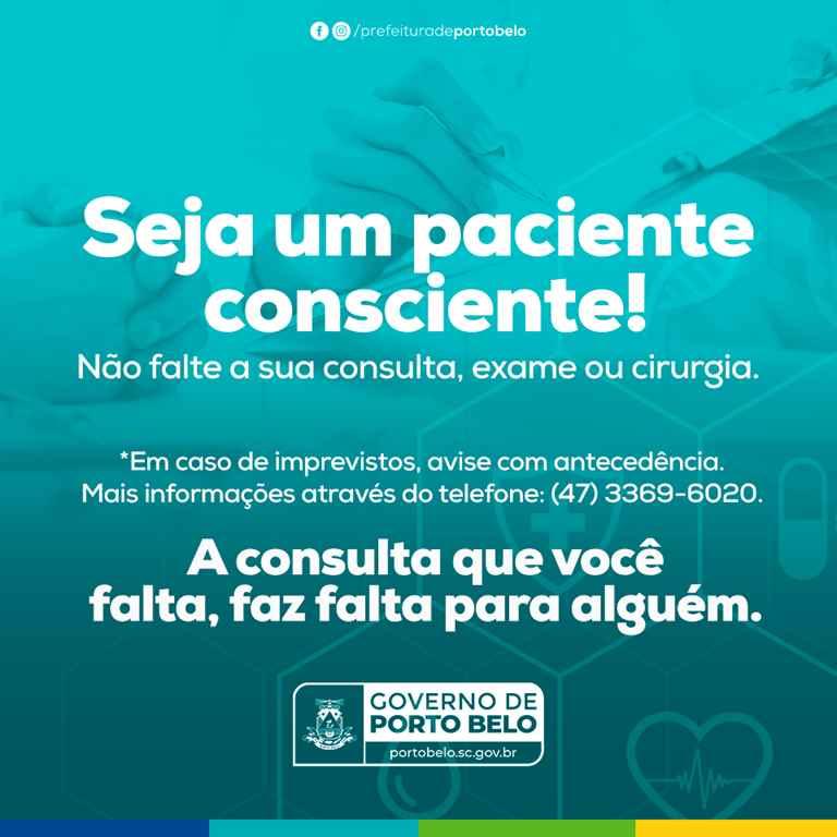 PORTO BELO – Porto Belo pede que pacientes evitem faltas a consultas e exames